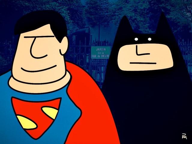 Batman et Superman rue de Bièvre / © Pascal Mabille